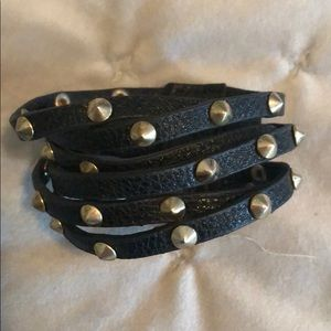 Black Layered Bracelet with studs